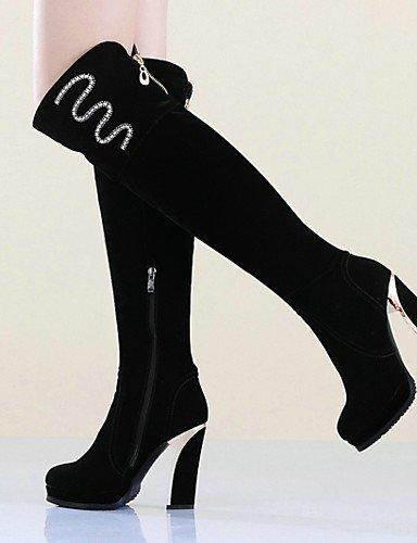 Vellón Black La Robusto us8 Zapatos Botas Negro Eu39 Casual Tacón Punta Cn39 Uk6 A Vestido Xzz Plataforma De Redonda Moda Mujer xvacgnq6