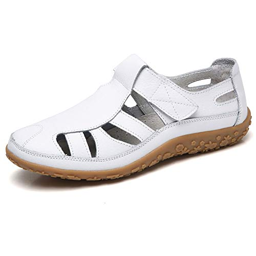 Fortuning's JDS Soft Leather Flat Sandals for Women, Summer Casual Shoes Comfortable Lightweight Non-Slip Sole Velcro Strap Hollow Closed Toe Sandals White ()