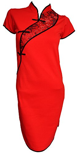 Amazing Grace Chinese Sexy Dress Tunic Qipao (Medium, China Red Qipao) (Dress Chinese Dresses Chinese)