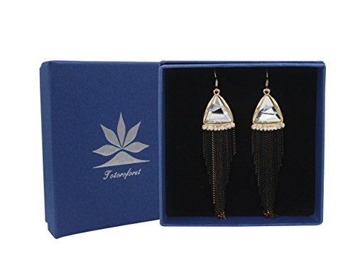 Totoroforet Décomplexé Blanc Triangle/Pyramid Cristal Glas Crochet d'oreille/Boucles d'oreilles longues Noir avec pompon