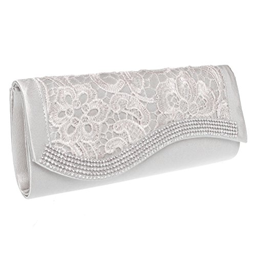 Clutch Evening Womens Fashion Lace Road Party amp; for Rhinestone Clutch White Purses Wedding 6qxxTwY