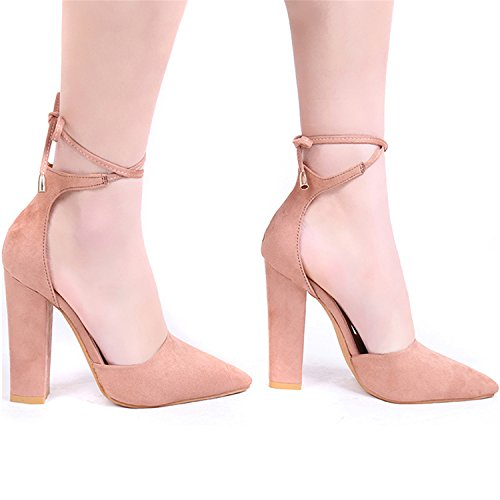 up Shoes PINZHUANG Shoes Sexy Strappy Pumps Lace Colors High 6 Pointed Heels Light Woman Brown Retro Thick BBCwRUq