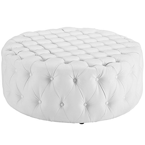 Modway Amour Faux Leather Button-Tufted Round Ottoman in White For Sale