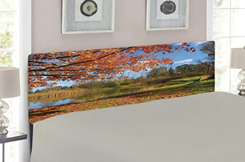 Lunarable Landscape Headboard for Queen Size Bed, Autumn Scenery in Michigan USA Scenic View with Trees Pond and Clear Sky, Upholstered Metal Headboard for Bedroom Decor, Orange Blue Green