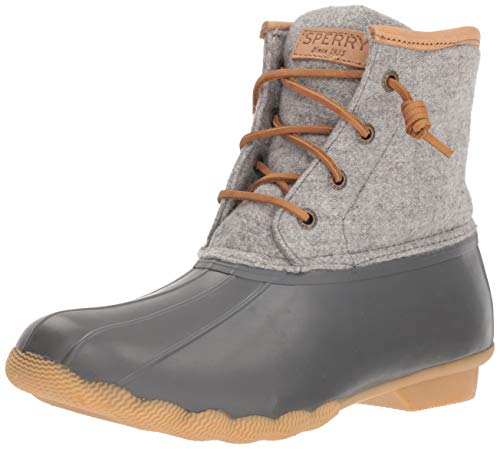 SPERRY Women's Saltwater Emboss Wool Rain Boot, Dark Grey, 9 W US