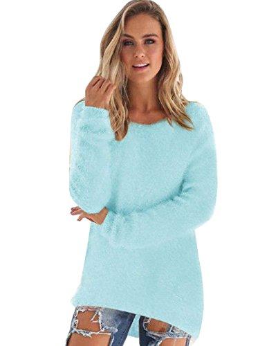 ZEARO Jersey Mujer Sudaderas Otono Invierno Ocasional Blusa Sueter de Punto Pullover Azul de Cielo