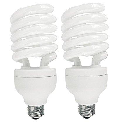 42 Watt CFL Light Bulb, (150W Equal) 6500K Daylight 80 CRI 2800 Lumens (2 Pack) (42w Spiral Cfl)