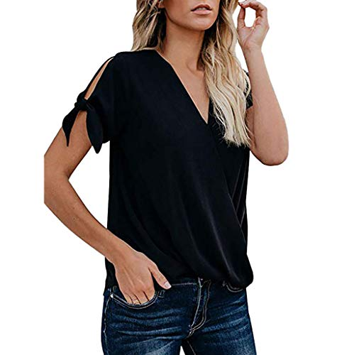 FORUU 2019 Surprise Best Gift for Girlfriend Lover Wife Party Under 5 Women's Casual Short Sleeve Hollowing Out V-Neck Solid Blouse Tops with Bow ()