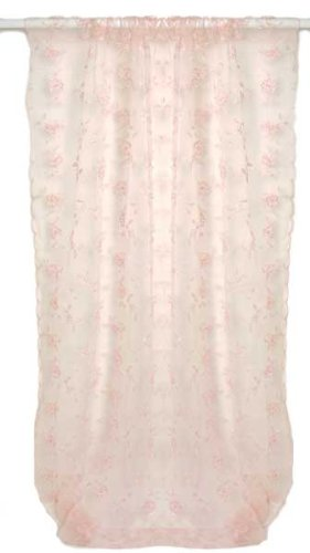 Ava Pink Floral Sheer Window Panel - 100 in x 52 in by Glenna Jean