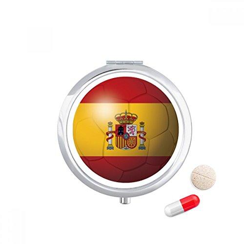 Spain National Flag Soccer Football Travel Pocket Pill case Medicine Drug Storage Box Dispenser Mirror Gift by DIYthinker