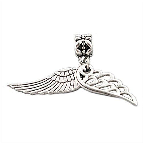Bling Stars Lucky Charm Dangle Angel Wings Love Charms Beads For Snake Chain Bracelets -