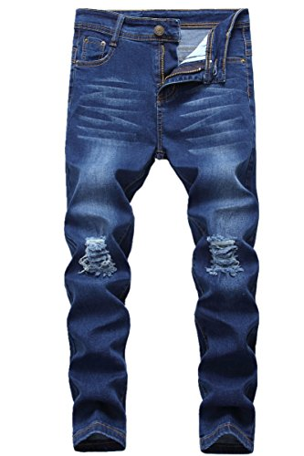 Boy's Blue Skinny Fit Ripped Destroyed Distressed Stretch Slim Denim Jeans Pants C1 16 Slim