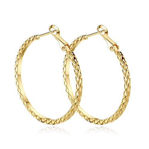 (•Yumay 10K Yellow Gold Plated Large Hoop Earrings for Women,40MM Hypoallergenic Hoop Earrings for girls.)