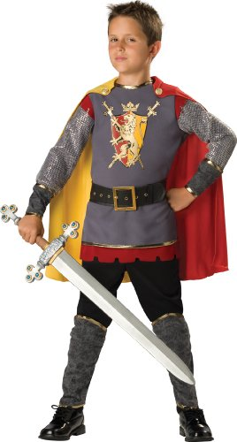 In Character Costumes, LLC Boys Loyal Knight Tunic Set, Silver/Burgundy, Small Size 6 ()