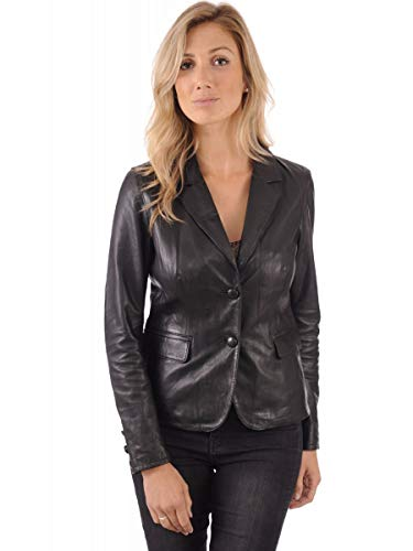 - Leather Image Women's Genuine Lambskin Leather Blazer Slim Fit Classic Leather Coat WB07 Medium Fits to Bust 32-33 inch Black