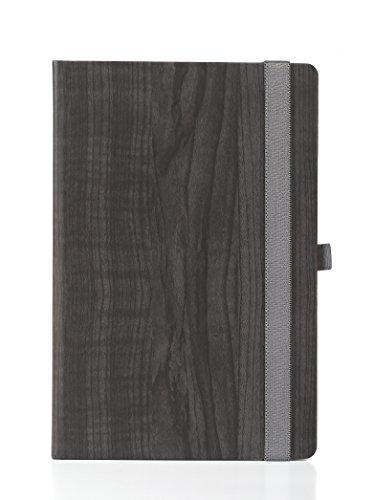 Elastic Notebook (Premium UberWorks GAYA Unique Dark Grey/Black Wood Theme Hardcover Notebook/Bullet Journal/Sketchbook with Silky Smooth Elastic Closure & Pen Holder, Medium A5, 192 Plain/Clear 80gr. Premium Paper)
