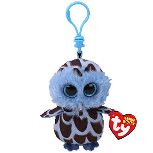 Big Eyes Plush Keychain Toy Doll Fox Owl Dog Unicorn Penguin Giraffe Leopard Monkey Dragon with Tag 4[ 10cm] (Blue Black Owl K) ()