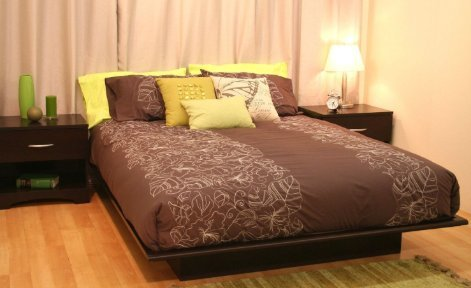 SKB family Queen size Platform Bed Frame in Dark Brown Choco