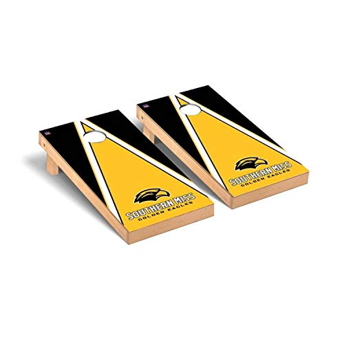 - Victory Tailgate Regulation Collegiate NCAA Triangle Series Cornhole Board Set - 2 Boards, 8 Bags - Southern Mississippi Golden Eagles