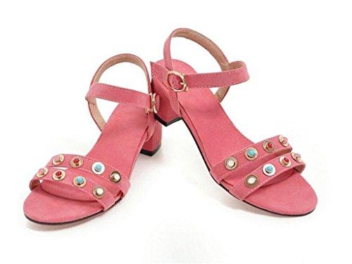 Pink Toe Molleton 34 Xie 41 scolaire simple Confortable open 4cm 34 rivets Shopping Sandales S6Sqwx7I