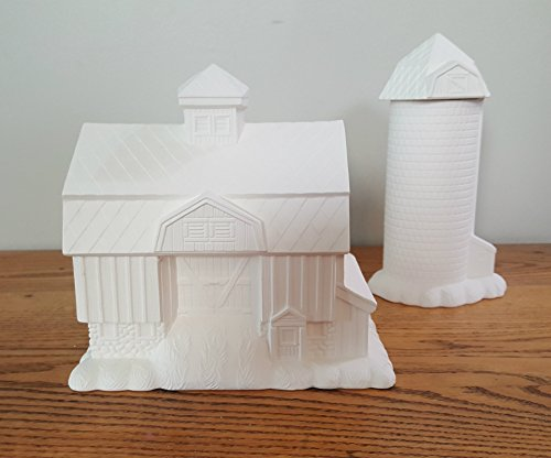 Old Barn and Silo Set unpainted ceramic bisque ready to be painted Christmas Village Farm (To Christmas Paint Ceramics Village)