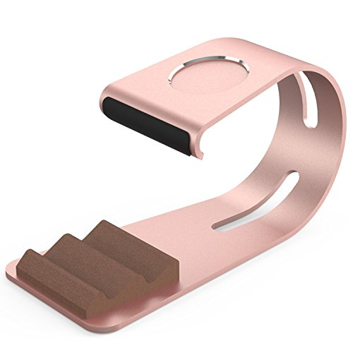 UniqueKay 2 in 1 iPhone Stand,Apple Wacth Charging Stand Aluminium Phone Dock for Smartphone and Tablets (The Moom - Rose Gold)