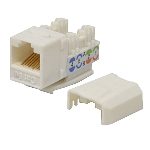 LOGICO 100 Pack lot Keystone Jack Cat5e White Network Ethernet 110 Punchdown 8P8C