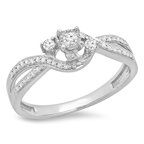 Dazzlingrock Collection 0.20 Carat (ctw) Sterling Silver Round Diamond Ladies 3 Stone Swirl Engagement Ring 1/5 CT, Size 7