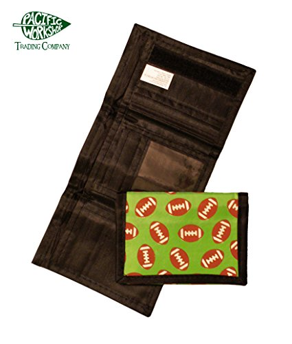 Sports Ball Wallet Nylon Velcro Trifold Kids Wallets for Boys Baseball Basketball Football Soccer (Green Football)