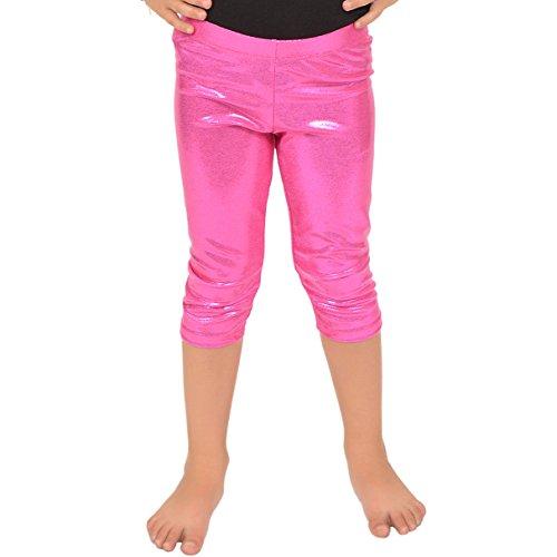 Pink Sparkly Leggings - Stretch is Comfort Girl's Metallic Mystique