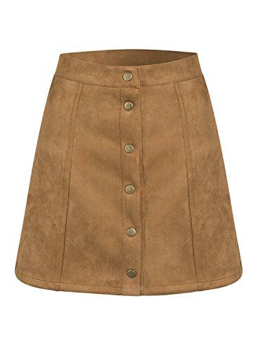 Persun Women's Brown Faux Suedettte Button Front Plain A-line Mini Skirt ,Brown ,Small