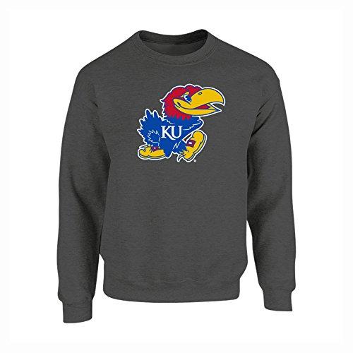 Icon Crew Sweatshirt - Elite Fan Shop Kansas Jayhawks Crewneck Sweatshirt Icon Charcoal - M