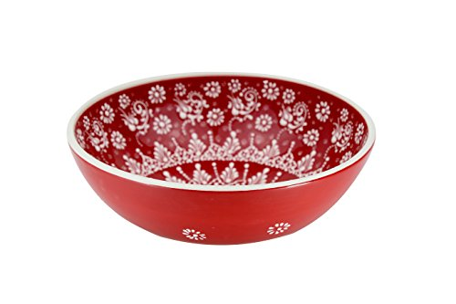 Handmade Ceramic Salad, Serving and Mixing Bowl with flowers - 12 different colors and patterns - 10 inch - great serving Bowls for Fruit, Salad, rice (Greek Red)