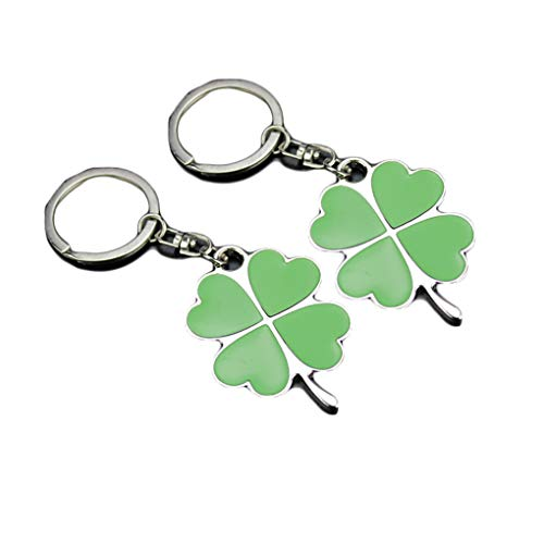 (St.Patrick Shamrock Clover Keyring Green Petal Leaf Clover Lucky Keychain JHSP17 (B))