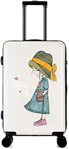 Color : Red GaoMiTA Cartoon Printing Scratch-Resistant Trolley case Female Small Fresh College Student Suitcase 24 inch Suitcase