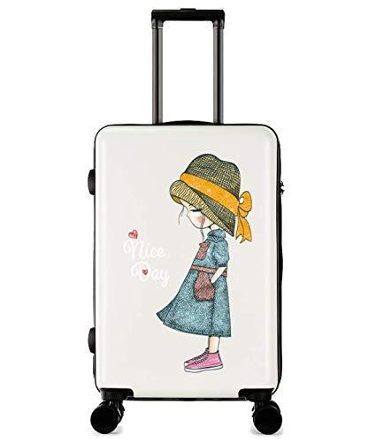 漫画の印刷傷防止トロリーケース女性の小さな新鮮な大学生のスーツケース24インチのスーツケース  ホワイト B07MQQ67VT