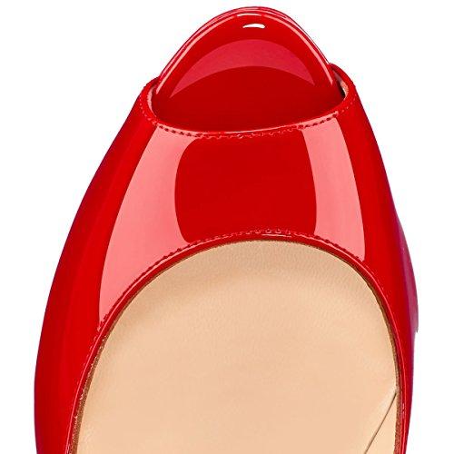 Ballo Della A Punta Pompe Piattaforma Fsj Per Della Spillo Tacchi Peep Di Donne Fine Dimensione Tacchi Sexy Rosso Anno Le Calzature 4 15 Opxd8x
