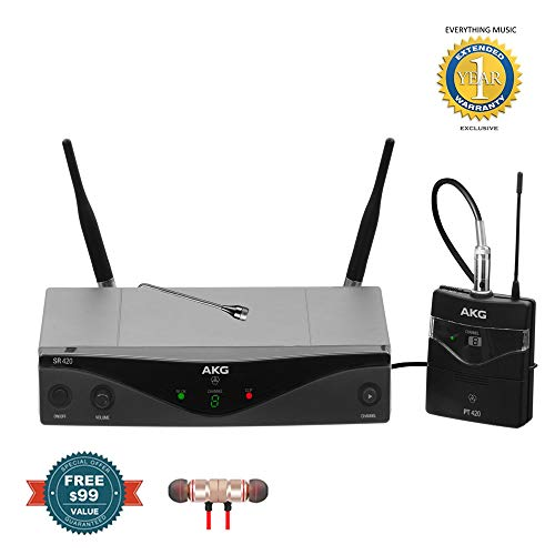 AKG Pro Audio WMS420 Presenter Set Band A Wireless Microphone System includes Free Wireless Earbuds - Stereo Bluetooth In-ear and 1 Year Everything Music Extended Warranty