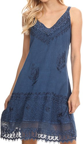 Sakkas 1107 - Ameelynn Short Embroidered Batik Festival Sleeveless Spaghetti Strap Dress - Ocean Blue - 1X/2X -