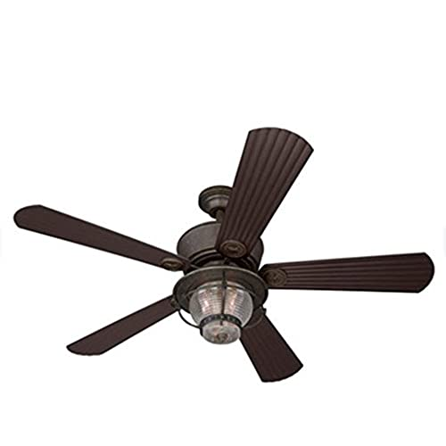 Merrimack 52 In Antique Bronze Outdoor Downrod Or Flush Mount Ceiling Fan  With Light Kit And Remote Country Chic Indoor Outdoor