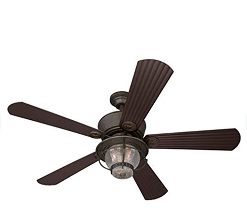 Merrimack 52-in Antique Bronze Outdoor Downrod or Flush Mount Ceiling Fan with Light Kit and Remote Country Chic Indoor Outdoor (Ceiling Fan)