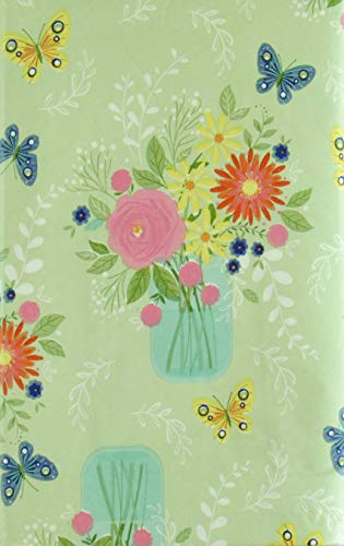Spring Flowers in a Vase Among Butterflies Vinyl Flannel Back Tablecloth (60