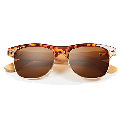 LOMOL Fashion Wooden Frame UV Protection Dazzle Color Lens Wayfarer - Sunglasses Costa Much Cost Do How
