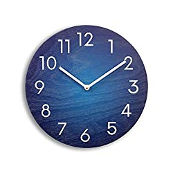 Blue wall clock. Wood wall clock. Numbers clock. Navy blue clock. Modern wall clock. Contemporary wall clock.