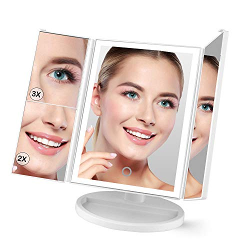 Lighted Makeup Vanity Mirror, 38 LED Lights, Trifold 3X/2X/1X Magnification, Touch Screen Dimming, Portable Adjustable Tabletop Travel Mirror, Dual Power Countertop Cosmetic Bathroom Mirror, White