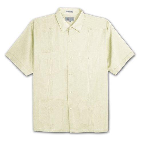 Gentlemens Collection Big Mens Pleated Guayabera Shirt (BEIGE ()