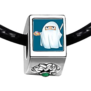Chicforest Silver Plated Halloween ghost candy Photo Emerald Green Crystal May Birthstone Flower Charm Beads Fits Pandora Bracelet