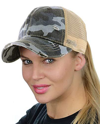- C.C Ponycap Messy High Bun Ponytail Adjustable Mesh Trucker Baseball Cap Hat, Camo Blue