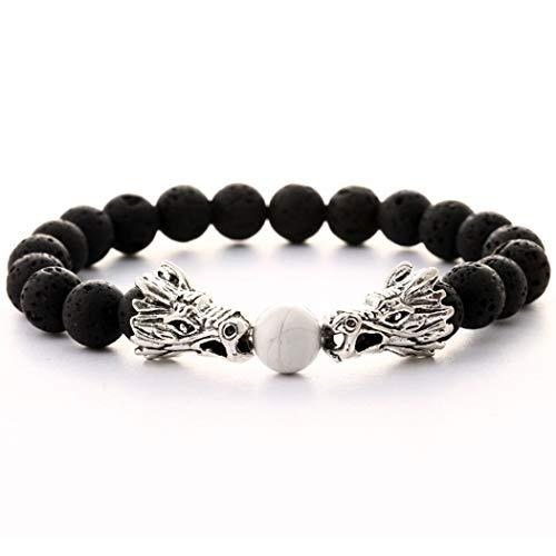 BaiYunPOY Beads Bracelet - Natural Stone Elastic Yoga Beaded Bracelet Charms Bangle for Men Women (Dragon Crack White)