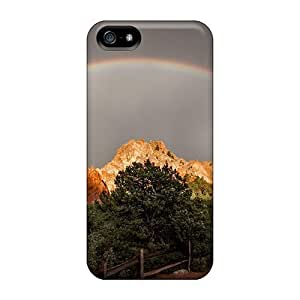 WonderwallOasis Awesome Case Cover Compatible With Iphone 5/5s - Double Rainbows Over The Mountains